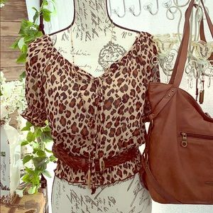 - Cleo Petites animal Cheetah sheer On/off shoulde